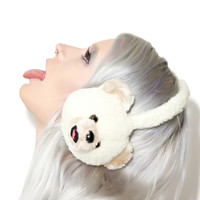 Hollywood Mirror Beary Cute Plush Earmuffs White One