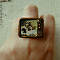 television ring, retro ring, unique ring, romantic ring, vintage style ring