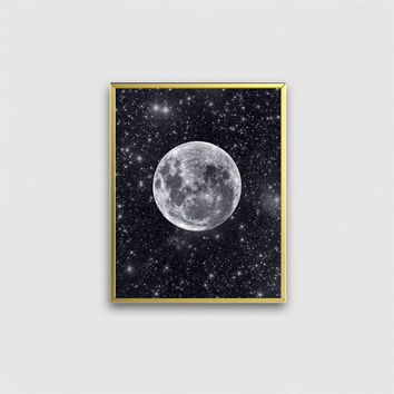 Moon art print, stars and full moon galaxy wall art poster. Star gazers gift, ideal for home, office or studio. La luna art home decor.