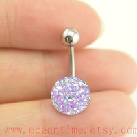 SALE belly ring,sparkling Belly Button Rings, blingbling belly button jewelry,purple Navel Jewelry,friendship bellyring