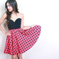 Vintage Red Skirt, Black Polka Dots - High Waist Size XS Full Short Skirt /1950s Rockabilly Style