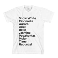 Princess Names T-Shirt - American Apparel Unisex Sizes S, M, L, XL - Custom Color