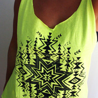 SALE Hand Cut, and Screen Printed Tank Top - Neon Yellow with Native Tribal Design - One Size