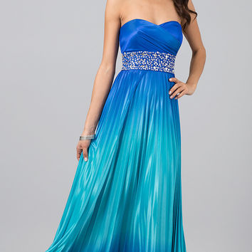 Strapless Ombre Prom Dress with Lace Up Back
