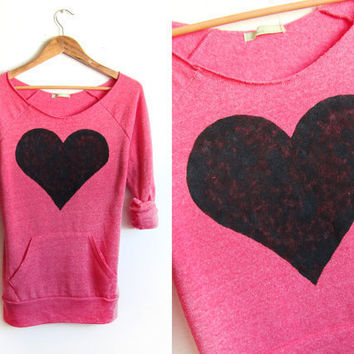 Black Heart Hand STENCILED Deep Scoop Neck Heather Artist Series Sweatshirt in Deep Pink - S M L XL