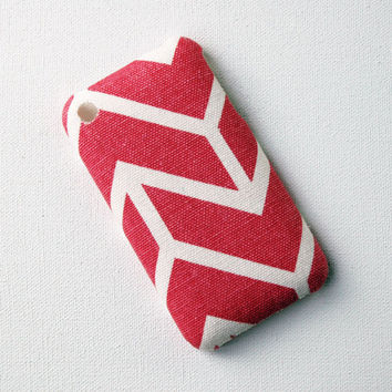 Recycled iPhone Case, iPhone 3 Case, Pink and White Stripe Fabric