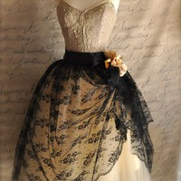 Black lace and nude tulle tutu skirt. Mlle. Chantilly Lace. French black chantilly lace over lined tutu skirt.