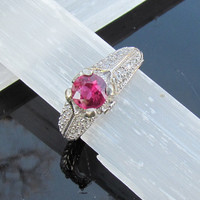 Pink Ruby Ring in Platinum Plated Silver July Birthstone Jewelry Engagement Ring