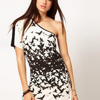 Miss Sixty One Shoulder Mini Dress With Bird Print at asos.com