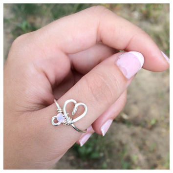 Silver Wire Wrapped Heart Ring with Opalescent Crystal Bead, Thumb Ring, Choose Size