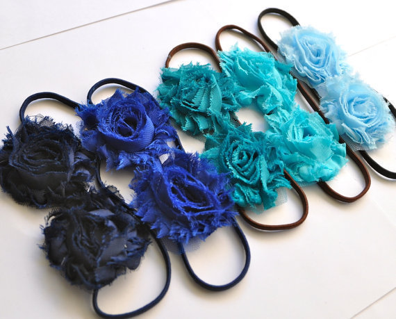 Got the blues shabby blossom headband for women or girls. Special offer 3 for 18. Navy, royal, teal, aqua and light blue.