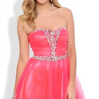 Strapless Short Homecoming Dress with Stone Bust and Mesh Horsehair Skirt