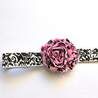 New headband--pink, black and white damask elastic and blossom.  Or choose your own color of blossom. Girls, newborns, women.