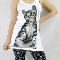 CAT Kitty Kitten Cute Green Eyes Pet White Shirt Cat Tank Top Women Shirt Sleeveless Tunic Top Vest Women Singlet
