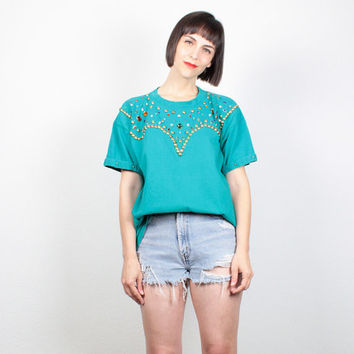 Vintage 80s T Shirt Teal Green STUDDED Tshirt Rainbow Gem Beaded Southwestern Tunic Top 1980s New Wave Navajo Mod Tee Shirt M Medium L Large