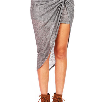 Heather Twist Skirt | Cute Clothes at Pink Ice