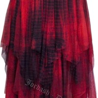 Dark Star Gothic Black and Red Lace Net Multi Tier Witchy Hem Skirt [DS/SK/5607R] - $59.99 : Mystic Crypt, the most unique, hard to find items at ghoulishly great prices!