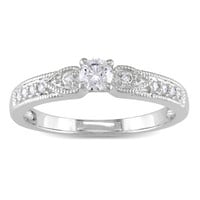 1/3 CT. T.W. Diamond Vintage-Style Ring in 10K White Gold