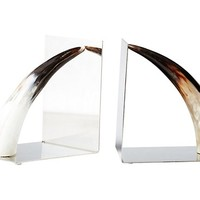 Pair of Horn Bookends, Brown/Silver