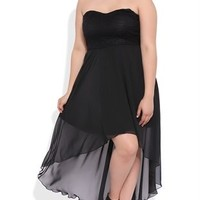 Plus Size High Low Dress with Sweetheart Lace Bodice