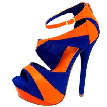 FAUX SUEDE COLOR BLOCK SEXY STILETTO SANDALS @ KiwiLook fashion