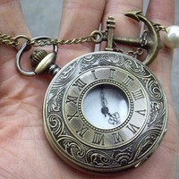roma number Pocket Watch Necklace with a sailer anchor (Big Size)