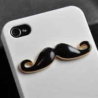 BLACK Mustache Iphone 4 Case Cover, iPhone 4s Case, iPhone 4 Hard Case, white iPhone Case ON SALE