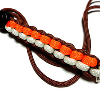 Mens Paracord Lanyard Brown Orange White Handmade USA Military Grade Cord Breakaway Clasp Sports Customize Colors 550 Paracord