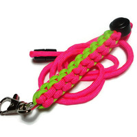 Ladies Paracord Lanyard in Neon Pink and Green with Breakaway Clasp Handmade USA 550 Paracord Customize Colors Id Badge Holder