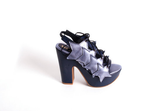 SUMMER WEDGES - Star design, lace up open platforms with blue purple shades- made to order