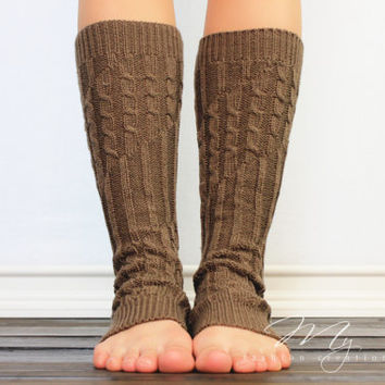 Cable Knit Boot Socks, Knitted Leg warmers, Button Option Boot Socks, Cable knit Boot Toppers, Mocha Legwarmers for women and girls