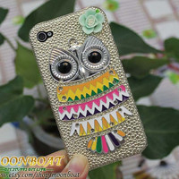 Cell Phone Hard Case Cover With Silvery Owl, Flower for iPhone 4 Case, iPhone 4s Case, iPhone 4 Hard Case, iPhone Case MB558