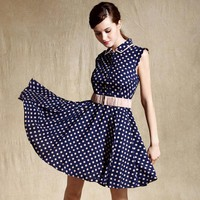 Blue Slim Dot Retro Polka Dot Dress - Designer Shoes|Bqueenshoes.com