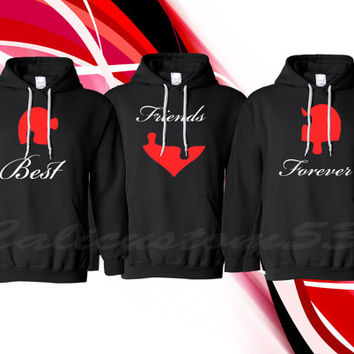 "Puzzle Piece Heart ""Best Friends Forever"" Hoodies For 3"
