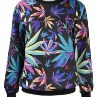 ZLYC Women Girls Colorful Maple Leaf Print Sweatshirt Weed Sweater Pullover Purple