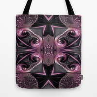 Beautiful Pink&Black Lace Fractal Butterfly Tote Bag by Amy Anderson