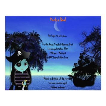 Lil' Witch the Pirate Halloween Party Invitation