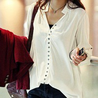 Stylish New Arrival Simple Leisure Blouse White_Blouses_Women_MartOfChina.com- wholesale cheap fashion dresses, wholesale lots of cheap clothing.