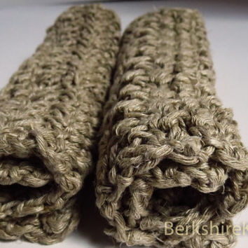 100% hemp crochet washcloth / natural brown / thick and textured / exfoliating / dishcloth / facecloth  // bath / bathroom / kitchen