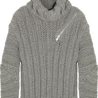 Jay Ahr - Zip-detailed ribbed wool and alpaca-blend sweater