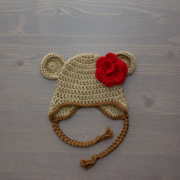Crochet Bear Hat with Flower, Baby Bear Hat, Crochet Baby Hat, Crocheted Baby Hat, Newborn Photography Prop, Baby Shower Gift, Baby Girl Hat