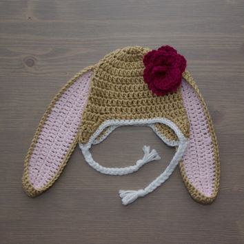 Crochet Brown Bunny Hat with Flower, Baby Bunny Hat, Crochet Bunny Hat, Newborn Photography Prop, Crochet Baby Hat, Crocheted Baby Hat, Girl