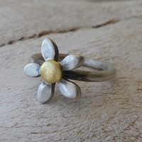 Simple flower ring - Silver Ring - flower ring - Seeds Collection - Free Shipping!!