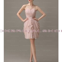 flesh pink prom dresses, simple prom dress, short prom dress, cheap prom dress, chiffon prom dress, short bridesmaid dress, custom bridesmaid dress, formal prom dress