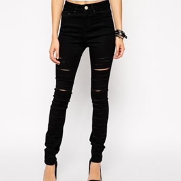 ASOS Ridley High Waist Ultra Skinny Jeans in Black with Extreme Rips