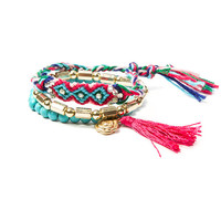 Pink with Blue Friendship, Metallic and Turquoise Beads Bracelets Set of 3