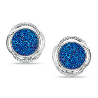 13.0mm Blue Drusy Quartz Swirl Earrings in Bronze with 18K White Gold Plate