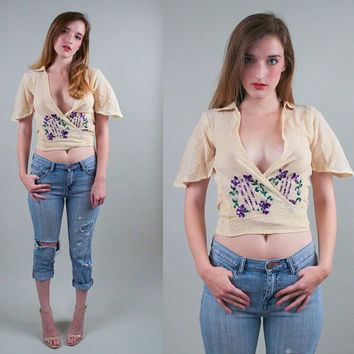 Vintage 70s Embroidered Gauze CROP TOP Blouse tunic sheer floral indian plunging neck bell sleeve angel sleeve festival blouse