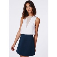 Missguided - Lubiana Scuba A Line Skirt Navy