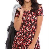 Off the Shoulder Skater Dress with Small Floral Print